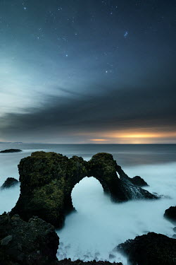 Ollie Taylor ARCH OF ROCK WITH MISTY SEA AT NIGHT Seascapes/Beaches