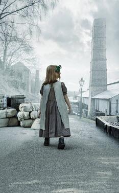 Stephen Mulcahey HISTORICAL LITTLE GIRL WALKING BY MILL Children