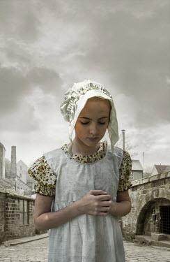 Stephen Mulcahey HISTORICAL GIRL IN BONNET OUTSIDE FACTORY Children