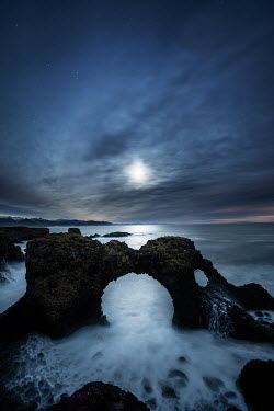 Ollie Taylor ARCH OF ROCK WITH SEA AT NIGHT Seascapes/Beaches