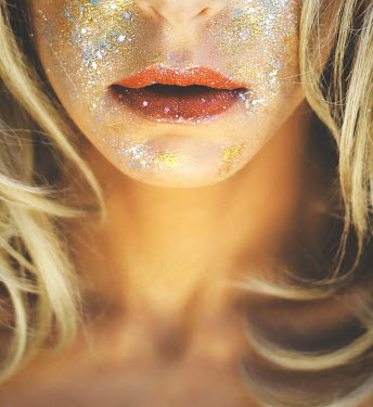 Irene Lamprakou Blonde Woman with Glitter on Face Women