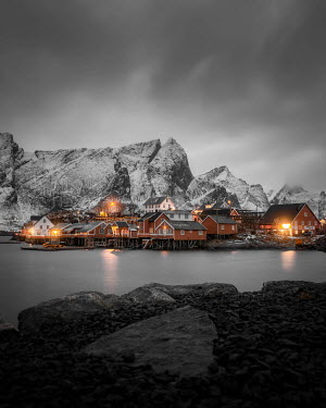 Paul Sheen VILLAGE BY LAKE WITH ICY MOUNTAINS AT NIGHT Villages