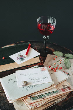Magdalena Wasiczek DRINK AND LETTERS ON TABLE WITH SHELL Miscellaneous Objects