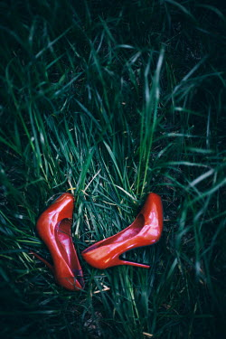 Nilufer Barin RED STILETTO SHOES LYING IN GRASS Miscellaneous Objects
