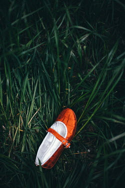 Nilufer Barin ONE GIRL'S RED SHOE LYING IN GRASS Miscellaneous Objects