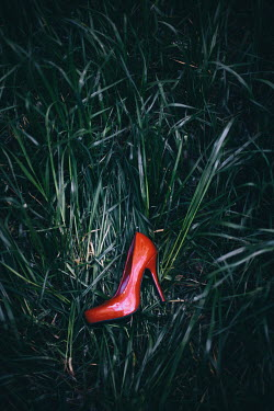 Nilufer Barin RED STILETTO SHOE LYING IN GRASS Miscellaneous Objects