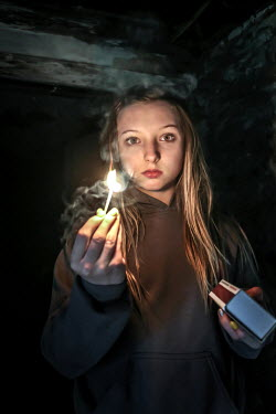 Stephen Carroll GIRL LIGHTING MATCH IN OLD DARK BUILDING Children