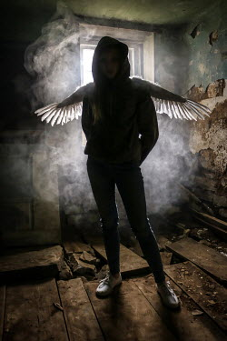 Stephen Carroll SILHOUETTED GIRL WITH WINGS IN DERELICT HOUSE Women