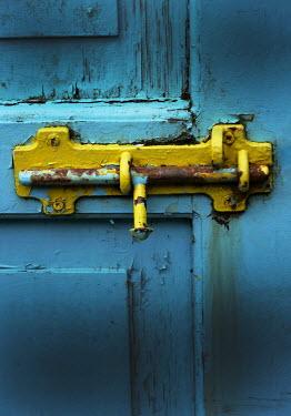 Ute Klaphake OLD YELLOW LATCH ON BLUE DOOR Building Detail