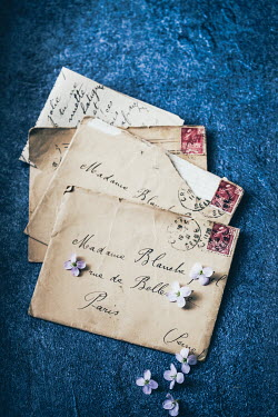 Des Panteva Vintage letters to France with Flowers Flowers