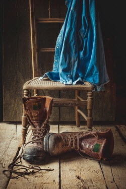 Jane Morley Brown boots and shirt on chair Miscellaneous Objects