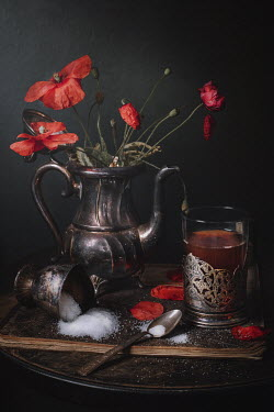 Magdalena Wasiczek Red poppies and tea on tray Miscellaneous Objects