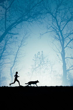 Magdalena Russocka silhouette of woman and wolfdog running in woods Women