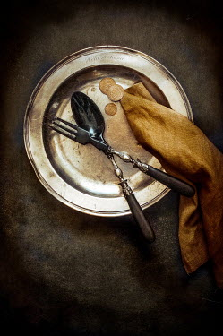 Jane Morley ANTIUE CUTLERY ON METAL PLATE Miscellaneous Objects