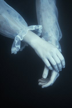 Magdalena Russocka close up of woman's hands in dark water
