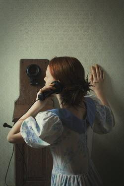 Robin Macmillan HISTORICAL GIRL IN DRESS ON TELEPHONE Women