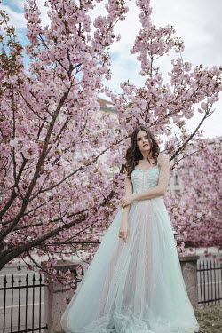 Nadja Berberovic GIRL IN GREEN GOWN BY PINK BLOSSOM OUTDOORS Women