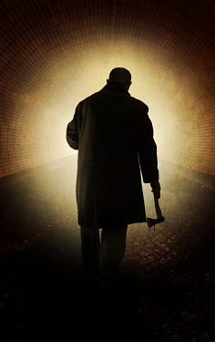 Jaroslaw Blaminsky SILHOUETTED MAN WITH AXE IN TUNNEL Men
