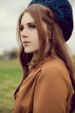 Rekha Garton CLOSE UP OF GIRL IN HAT OUTDOORS Women
