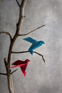 Kelly Sillaste PAPER BIRDS ON MINIATURE TREE Miscellaneous Objects