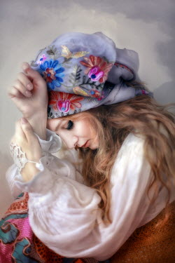 Kamil Akca SAD WOMAN WITH EMBROIDERED HEADSCARF Women