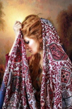 Kamil Akca SAD WOMAN WITH PATTERNED SCARF Women