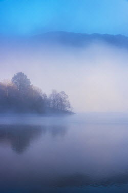 Tim Gartside SERENE MISTY LAKE WITH HILLS AT DUSK Lakes/Rivers