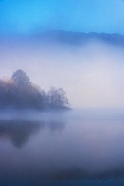 Tim Gartside SERENE MISTY LAKE WITH HILLS AT DUSK Lakes/Rivers