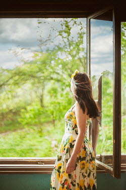 Svetoslava Madarova WOMAN BY OPEN WINDOW WATCHING COUNTRYSIDE Women