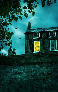 Stephen Mulcahey LIGHT IN WINDOW OF OLD HOUSE AT DUSK Houses