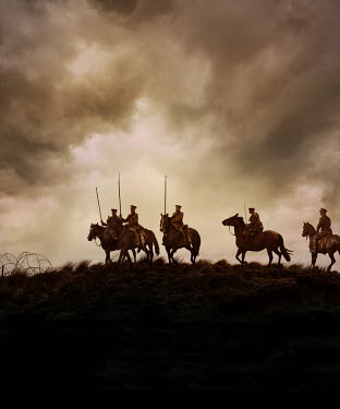 Stephen Mulcahey SOLDIERS ON HORSES IN STORMY COUNTRYSIDE Groups/Crowds