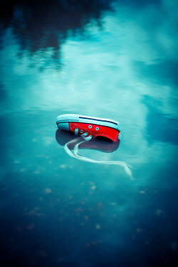 Ildiko Neer Child's red sneaker in blue pond Miscellaneous Objects