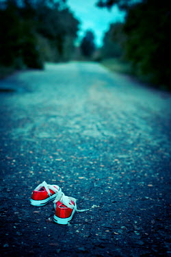 Ildiko Neer Child's red sneakers on country road Miscellaneous Objects
