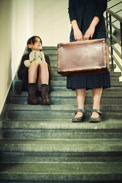 Svetoslava Madarova WOMAN AND GIRL WITH SUITCASE ON STEPS Children