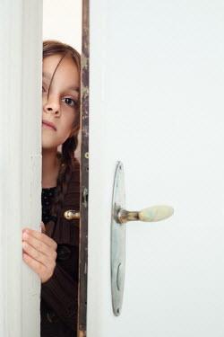 Svetoslava Madarova YOUNG GIRL PEEPING THROUGH DOOR Children