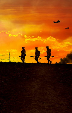 Stephen Mulcahey THREE SOLDIERS AND PLANES AT SUNSET Men