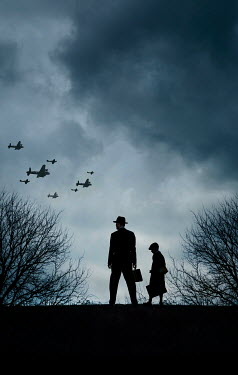 Stephen Mulcahey FATHER AND SON WITH WARTIME PLANES AT NIGHT Children