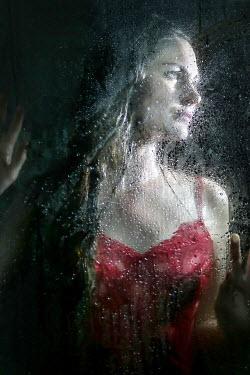 Stephen Carroll WOMAN IN RED LINGERIE BEHIND WET GLASS Women