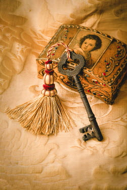 Jane Morley OLD KEY WITH TASSEL AND ANTIQUE BOX Miscellaneous Objects