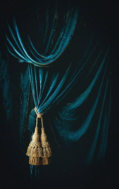 Jane Morley TURQUOISE VELVET CURTAIN WITH TASSELS Interiors/Rooms