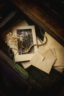Jane Morley PHOTOGRAPH WITH PEARLS FLOWERS AND LETTERS IN DRAWER Flowers