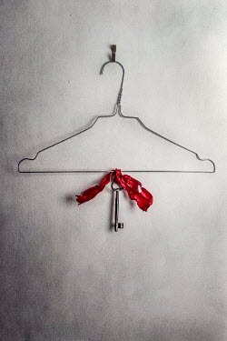 Kelly Sillaste KEY TIED ON COAT HANGER WITH RED RIBBON Miscellaneous Objects