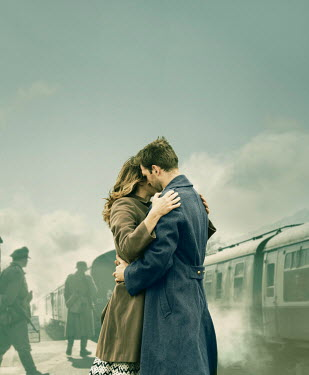 CollaborationJS WW2 COUPLE EMBRACING AT RAILWAY STATION Couples