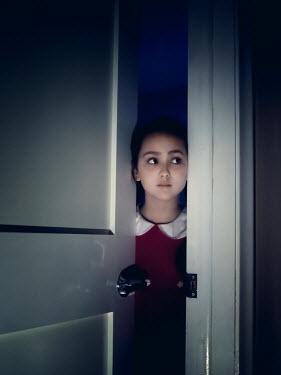 Elisabeth Ansley YOUNG GIRL LOOKING OUT OF OPEN DOOR Children