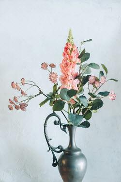 Magdalena Wasiczek PINK FLOWERS IN METAL JUG Flowers