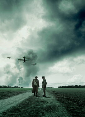 Stephen Mulcahey TWO SOLDIERS IN COUNTRYSIDE WITH AEROPLANES Men