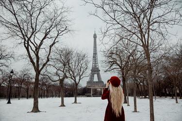 Nathalie Seiferth GIRL PHOTOGRAPHING EIFFEL TOWER IN WINTER Women