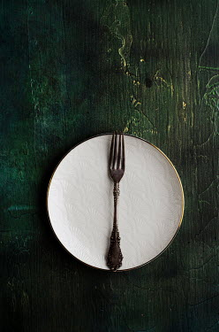 Cristina Mitchell FORK ON PLATE ON TABLE FROM ABOVE Miscellaneous Objects