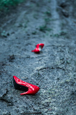 Magdalena Russocka red high heels abandoned in mud Miscellaneous Objects