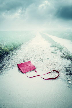 Magdalena Russocka red handbag abandoned on misty road Miscellaneous Objects